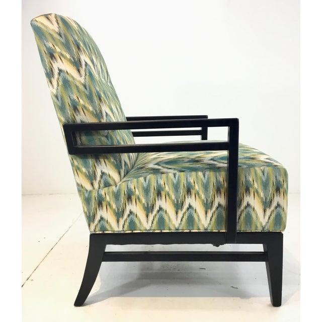 Thomasville Thomasville Modern Green Herringbone Print Lounge Chair For Sale - Image 4 of 6
