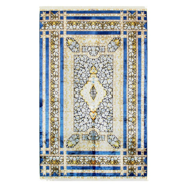 Pasargad Herekeh Qum Design Silk Rug- 4' X 6' For Sale - Image 4 of 4