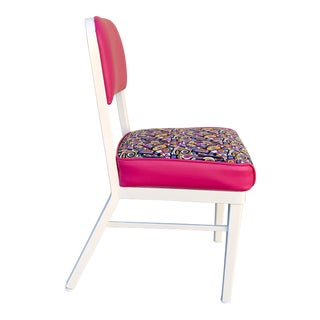 1960s McDowell Craig Steel Side Chair, Refinished With Retro Fabric For Sale