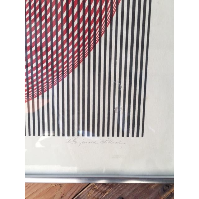 Mid-Century Vintage Op Pop Art Signed Lithograph - Image 5 of 7