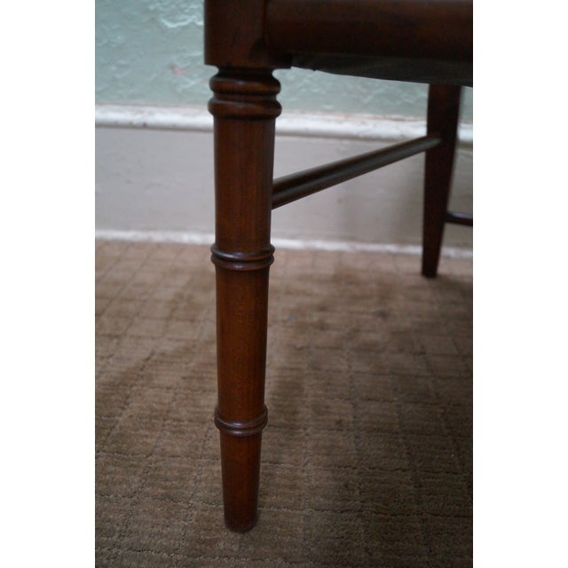 Solid Mahogany Faux Bamboo Arm Chairs - A Pair - Image 7 of 10