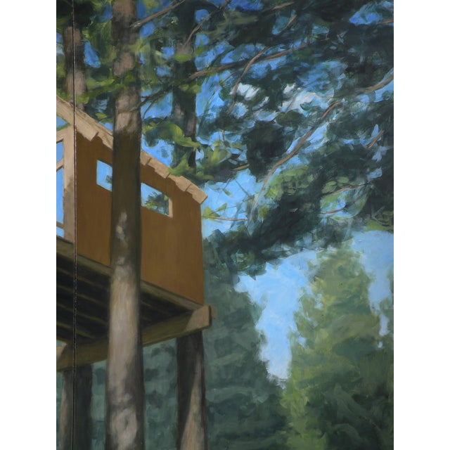 """Green """"Tree House ~ Looking Up"""" Contemporary Large Painting by Stephen Remick For Sale - Image 8 of 10"""
