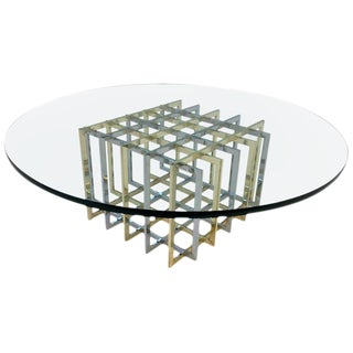 Brass and Chrome Geometric Grid Cocktail Table by Pierre Cardin For Sale