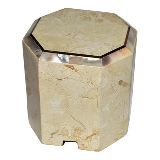 Tessellated Travertine Mother of Pearl Brass Inlaid Hexagonal Box For Sale