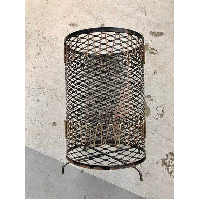 Mid 20th Century 20th Century Boho Chic Metal Mesh Wastebasket For Sale - Image 5 of 8