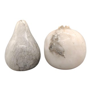 20th Century Italian Carved Marble Fruit - 2 Pieces For Sale
