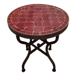 Moroccan Burgundy Mosaic Side Table For Sale