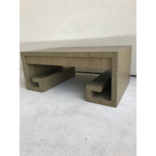 Grasscloth Greek Key Coffee Table For Sale - Image 4 of 13