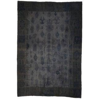 Charcoal Gray Turkish Kilim Souf Rug With Minimalist Style 12'03 X 18'00 For Sale