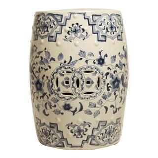 Vintage Blue & White Ceramic Garden Stool For Sale