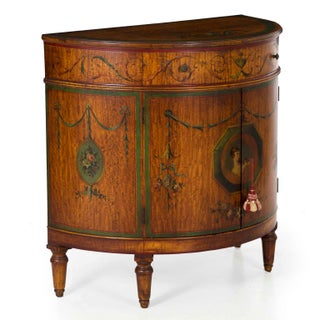 Circa 1930s Adam's Style Finely Painted Antique Demilune Cabinet by William Wholey Co. Preview