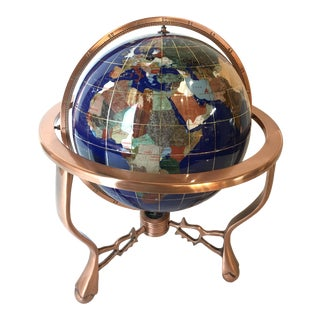 Modern Gem Stone Lapis Royal Blue With m.o.p World Globe For Sale