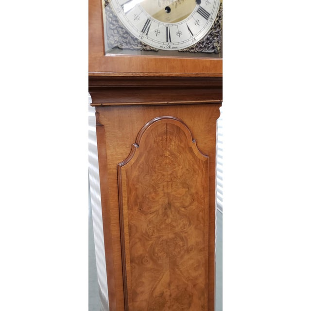 Brown Vintage Tall Case Clock by Elliott, England For Sale - Image 8 of 13