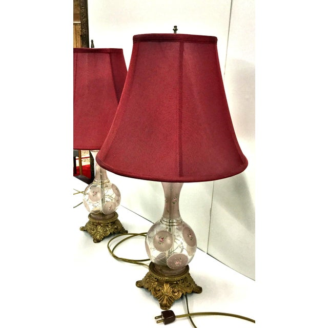 Victorian Hand Painted Glass and Carved Brass Table Lamps - a Pair For Sale - Image 10 of 12