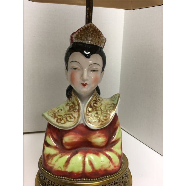 Hollywood Regency Peking Chinoiserie Female Male Bust Table Lamps - Pair - Image 8 of 11