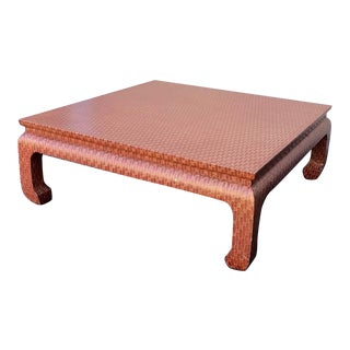 1960s Asian Baker Furniture Red Gold Coffee Table For Sale