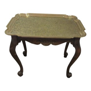 1960s Mid-Century Modern Baker Furniture Brass Topped Tray Table For Sale