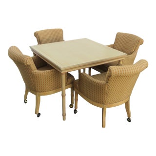 Hollywood Regency Faux Bamboo Dinette Table and Four Chairs 2375 For Sale