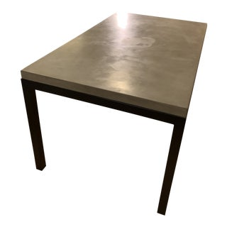 Industrial Crate and Barrel Parsons Concrete Top/Dark Steel Base Dining Table For Sale
