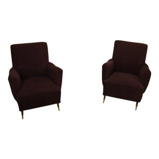 Mid-Century Modern Lounge Armchairs- a Pair For Sale