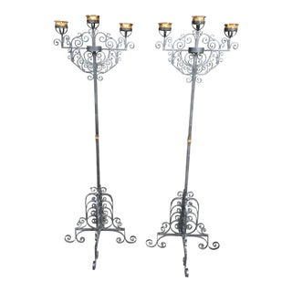 Wrought Iron Mission Spanish Style Floor Candlebra- A Pair For Sale