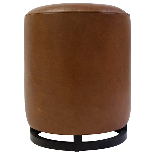 Round Leather Pouf on Dark Mahogany Base With Circular Detail at Seat For Sale In New York - Image 6 of 6