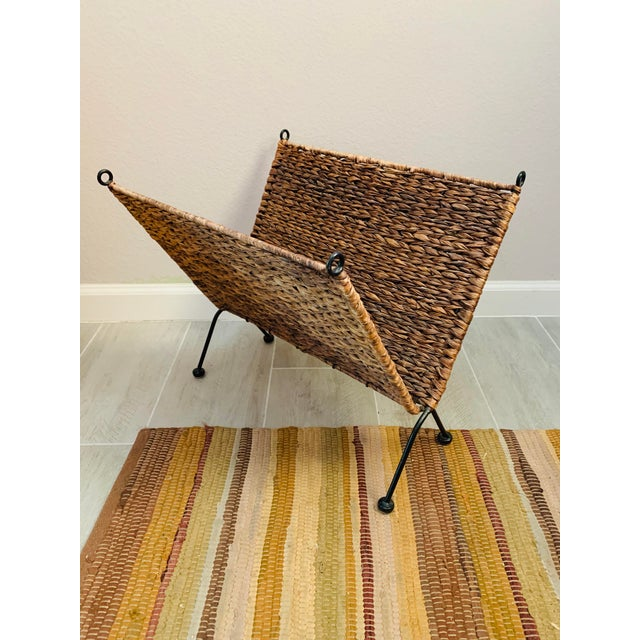 Abstract Iron and Wicker Magazine Rack Holder Vintage Mid Century Umanoff Style For Sale - Image 3 of 10