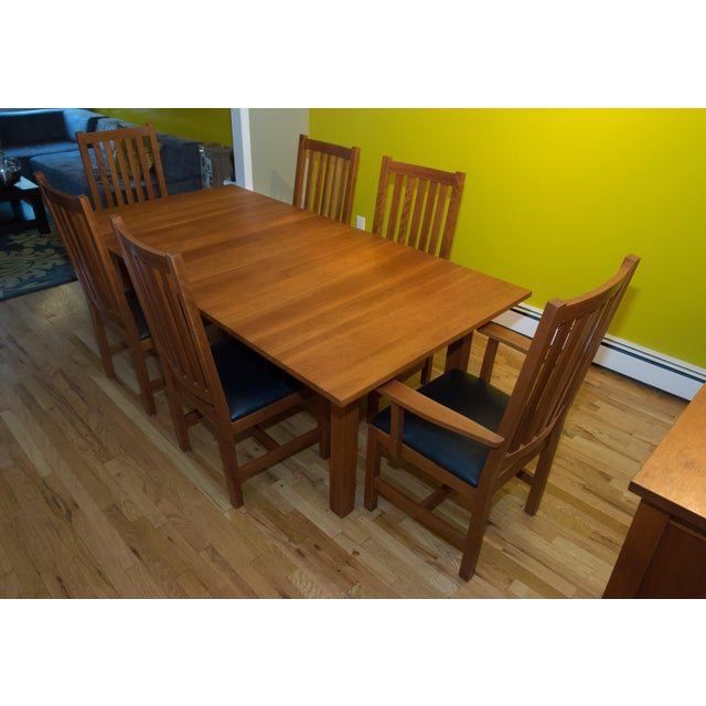 Crate & Barrel Mission Style Brazillian Cherry Wood Dining Set From Crate & Barrel For Sale - Image 4 of 9