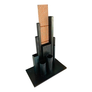 Louise Nevelson Style Modernist Modern City Steel Skyscraper Sculpture For Sale