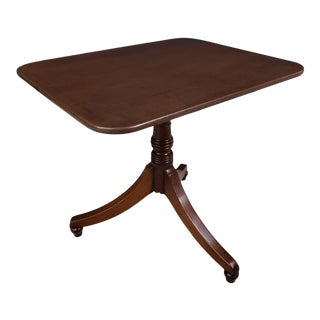English Traditional Rectangular Tilt Top Mahogany Occasional Table For Sale