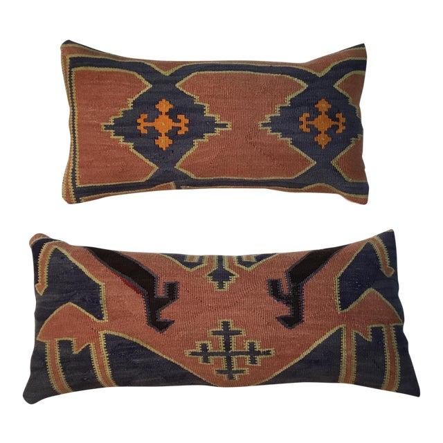 1960s Mediterranean Kazak Cotton Pillows - a Pair For Sale