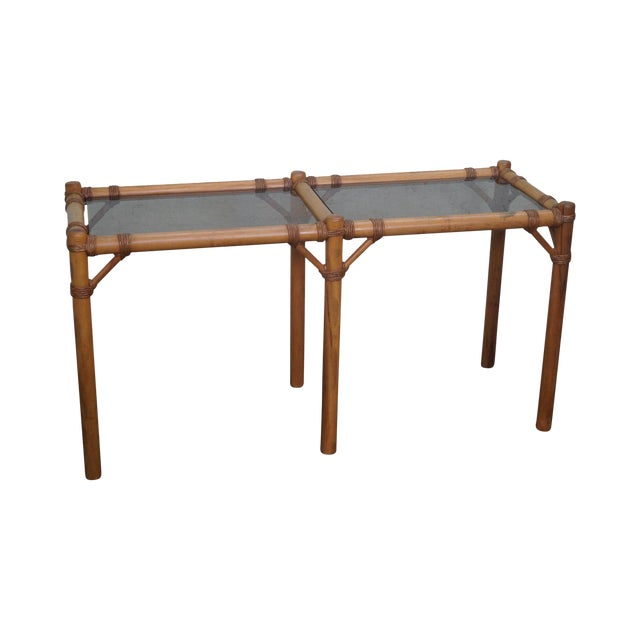 Vintage Faux Bamboo Console Table - Image 1 of 10