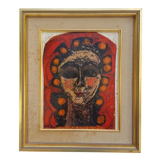 60's Thomas Knitch Female Face Abstract Painting .