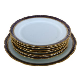Desert Set W/ Blue & Gold Greek Key by Jackson & Coslinc , England- Set of 8 For Sale