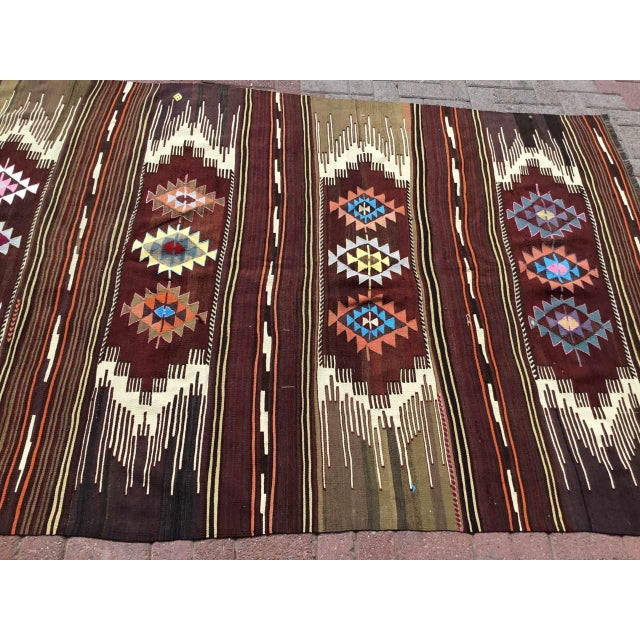 Mid-Century Modern Vintagr Turkish Kilim Rug For Sale - Image 3 of 11