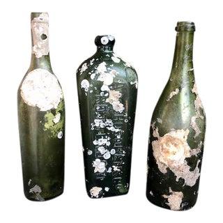 Old Green Glass Shipwreck Barnacle Encrusted Bottles - Set of 3 For Sale