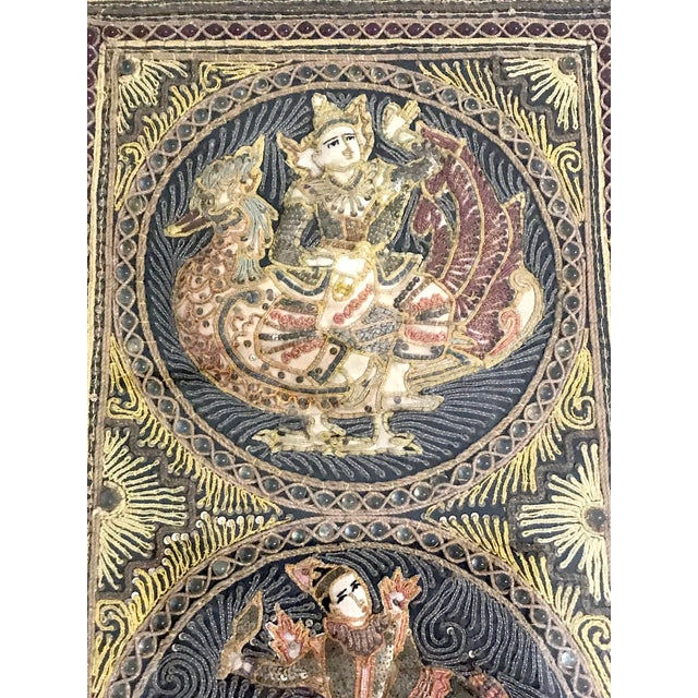 Mid 20th Century Double Framed Embroidered Burmese Mythological Kalaga, Wall Tapestry/Hanging Panel For Sale - Image 5 of 10