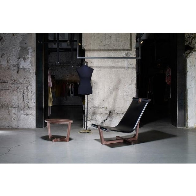 Modern Loft Walnut & Black Leather Armchair & Ottoman / Made in Europe - Image 10 of 10