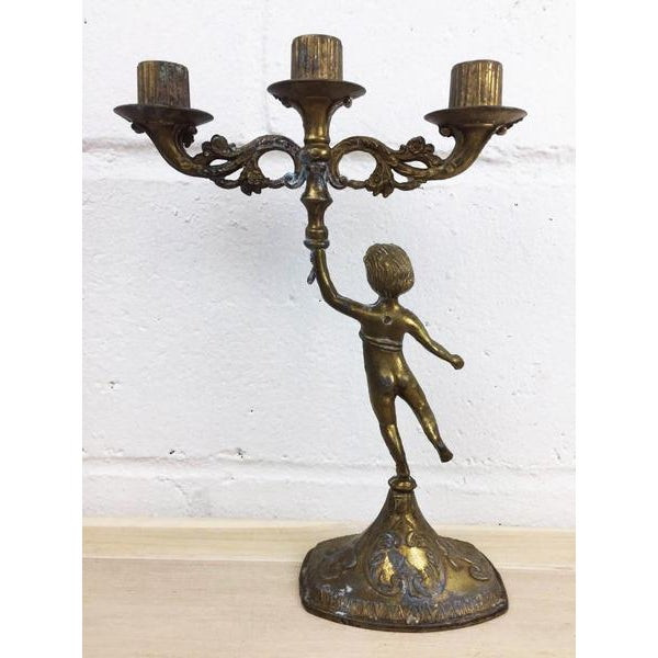 Antique French Style Copper Angel Candelabra - Image 3 of 8