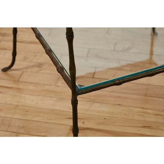 1950s Vintage Maison Bauges Style Two-Tier Faux Bamboo Side Table For Sale - Image 5 of 13