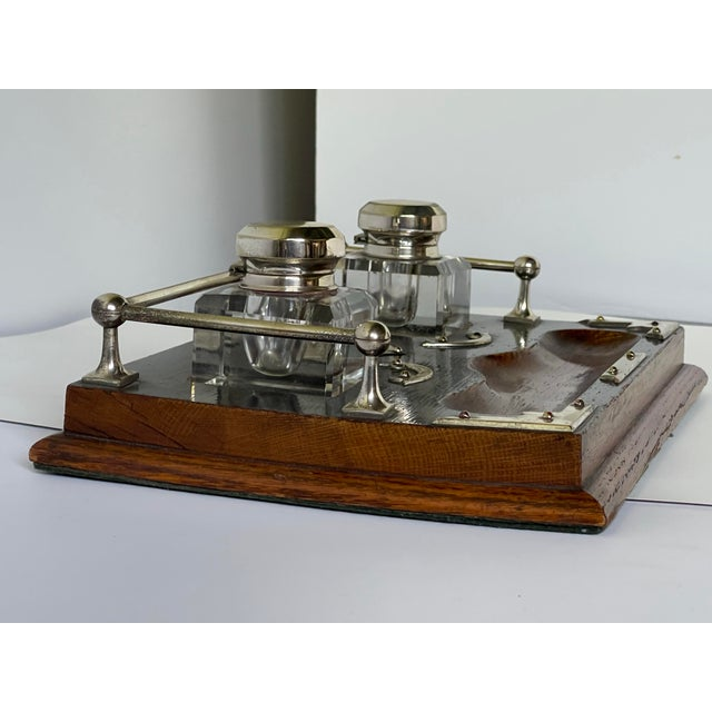 Brown Antique English Double Inkwell Desk Set For Sale - Image 8 of 12