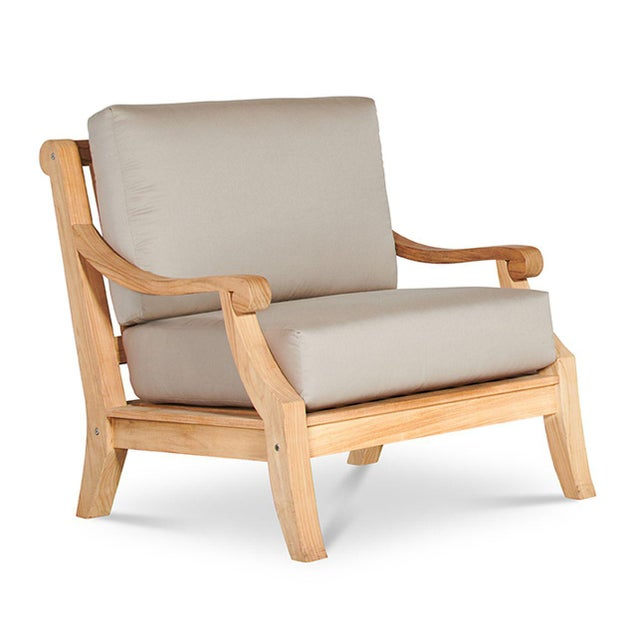 Sonoma Teak Deep Seating Outdoor Club Chair with Sunbrella Antique Beige Cushion For Sale In Los Angeles - Image 6 of 6