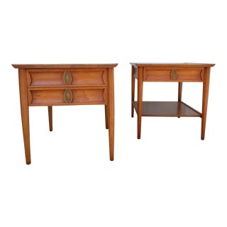1960's Mid-Century Contemporary Perennian Heritage Pecan Side Tables - a Pair