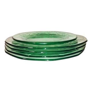 Antique 1920's Green Vaseline Depression Plates - Set of 4 For Sale
