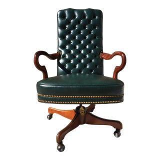 Leathercraft Swivel-Tilt Gooseneck Mahogany Arm Tufted Leather High-Back Executive Chair For Sale