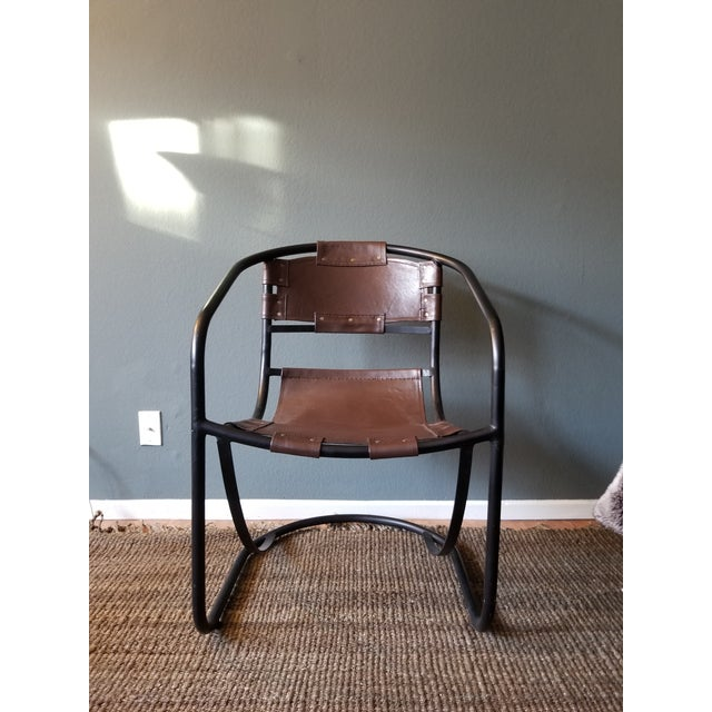 Tobacco Leather Round Lounger Chair - Image 2 of 9