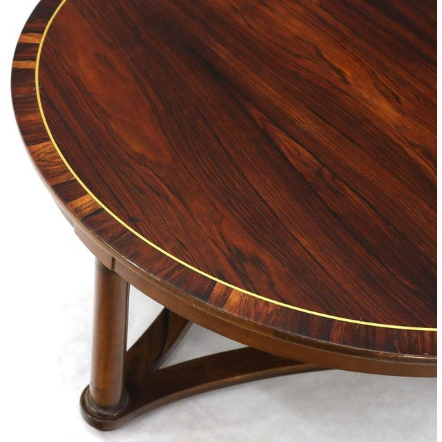 Mid-Century Modern Round Rosewood Neoclassical Rosewood Banded Top Coffee Center Table For Sale - Image 3 of 11