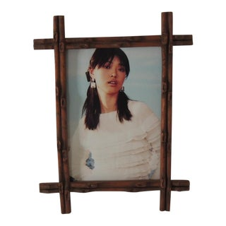 "Vintage Wood ""Faux Bamboo"" Picture Frame For Sale"