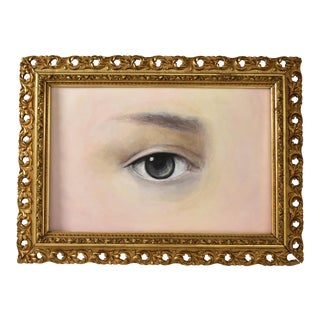 Contemporary Lover's Eye Portrait in a 19th-Century Gilt Frame by S. Carson For Sale