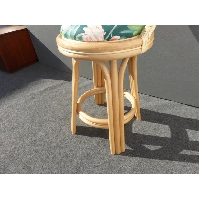 Mid-Century Faux Bamboo Bar Stools - Set of 3 - Image 9 of 11
